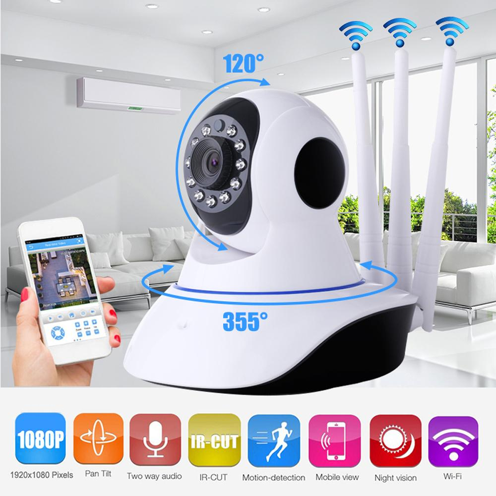 Sale Home Security Ip Camera P2P Three Antenna Wireless Wifi Security Camera Surveillance 1080P Night Vision Cctv Baby Monitor With Pan Tilt 2 Way Audio Online On China