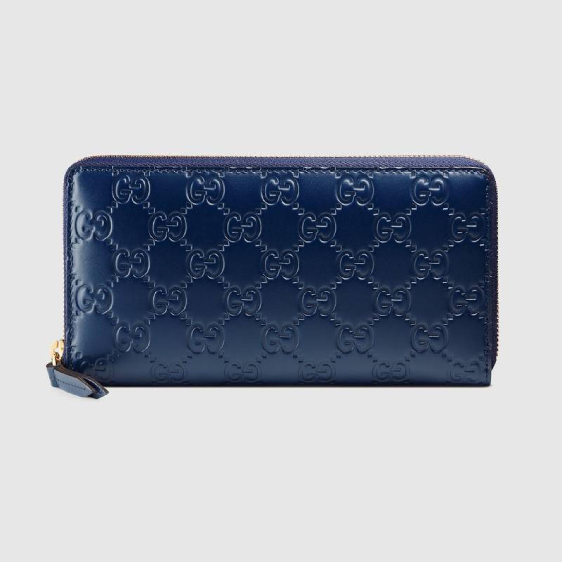 eb1caa25d234 Gucci Signature Leather Zip Around Wallet (Dark Blue) # 410102CWC1G4157