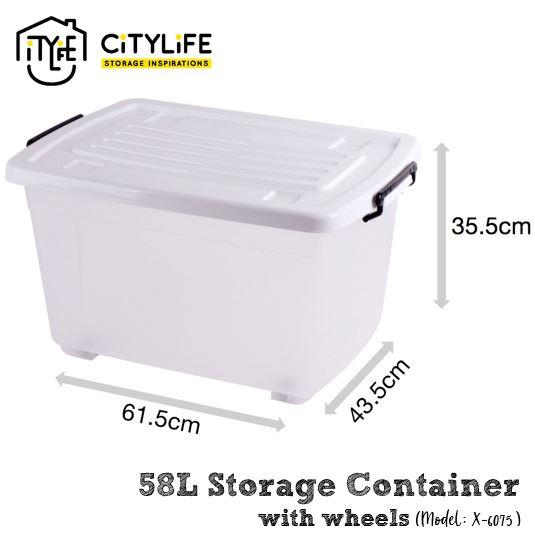 Citylife 58L Storage Container with Wheels