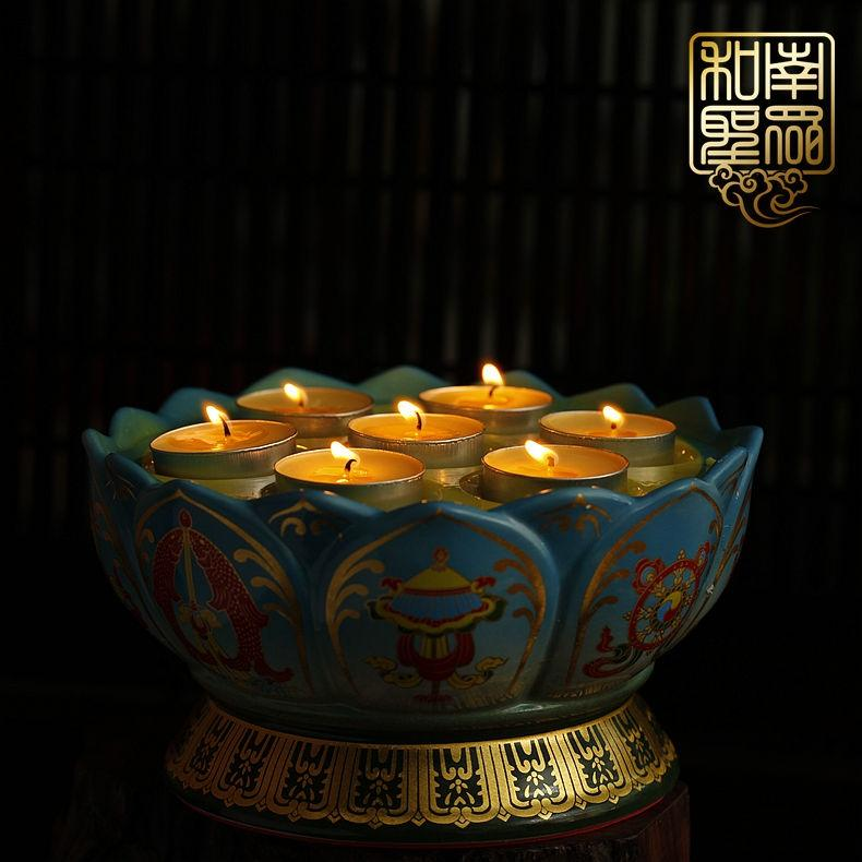 Ceramic for Buddha butter lamps Lotus Lamp candle Sets