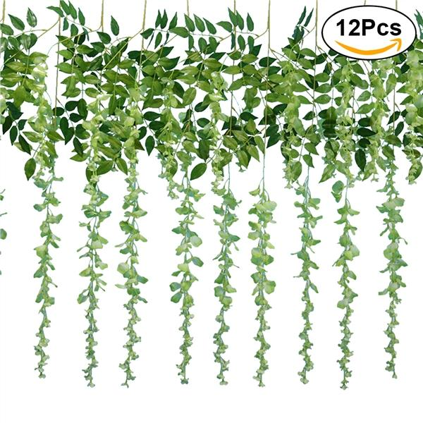 Cheaper 12Pcs Artificial Silk Wisteria Ivy Vine Green Leaf Vine Garland Simulation Props For Party Wedding Home Decoration Light Green Intl