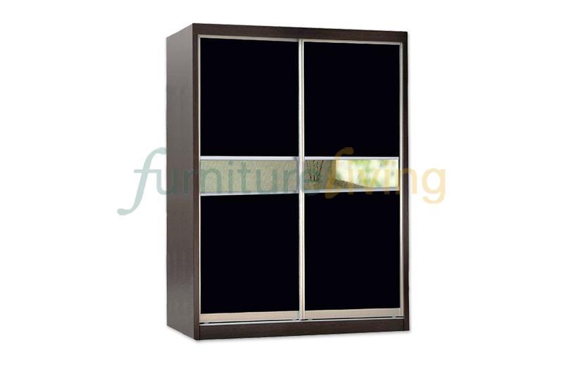 Furniture Living Sliding Door Wardrobe (Walnut + Mirror)