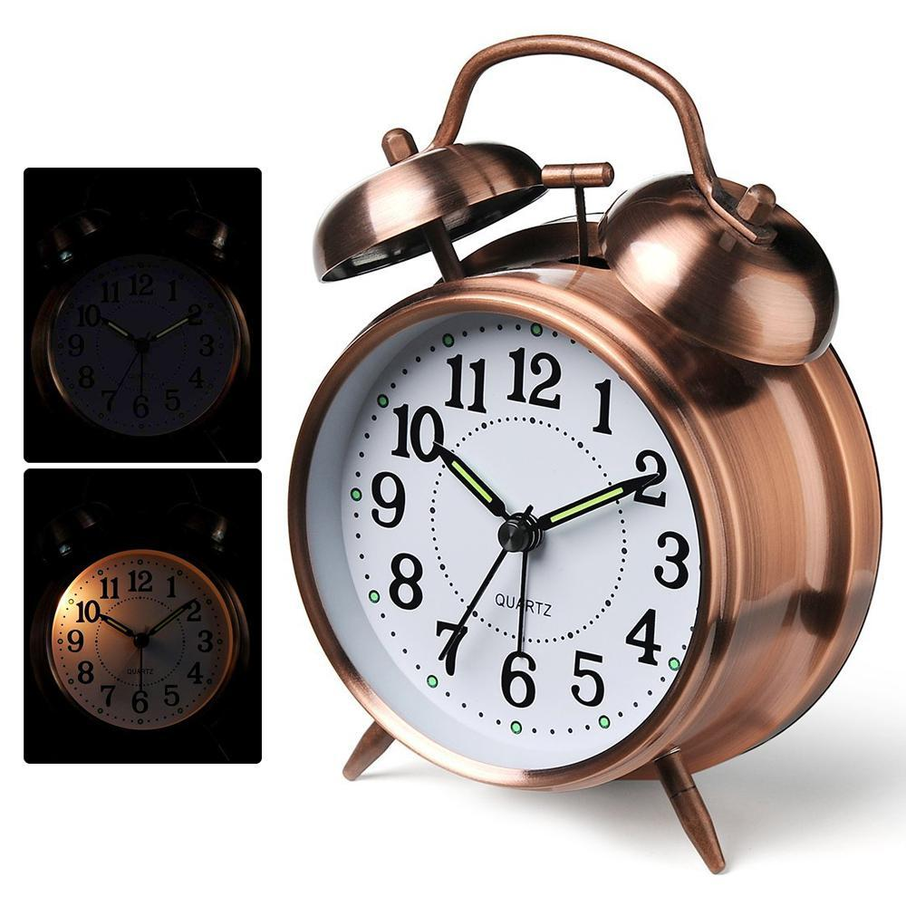 Niceeshop Twin Bell Alarm Clock With Backlight, Battery Operated Loud Alarm Clock Vintage Style Alarm Clock - Twin Bell, Analog & Battery Operated - Great For Heavy Sleepers And Travel By Nicee Shop.