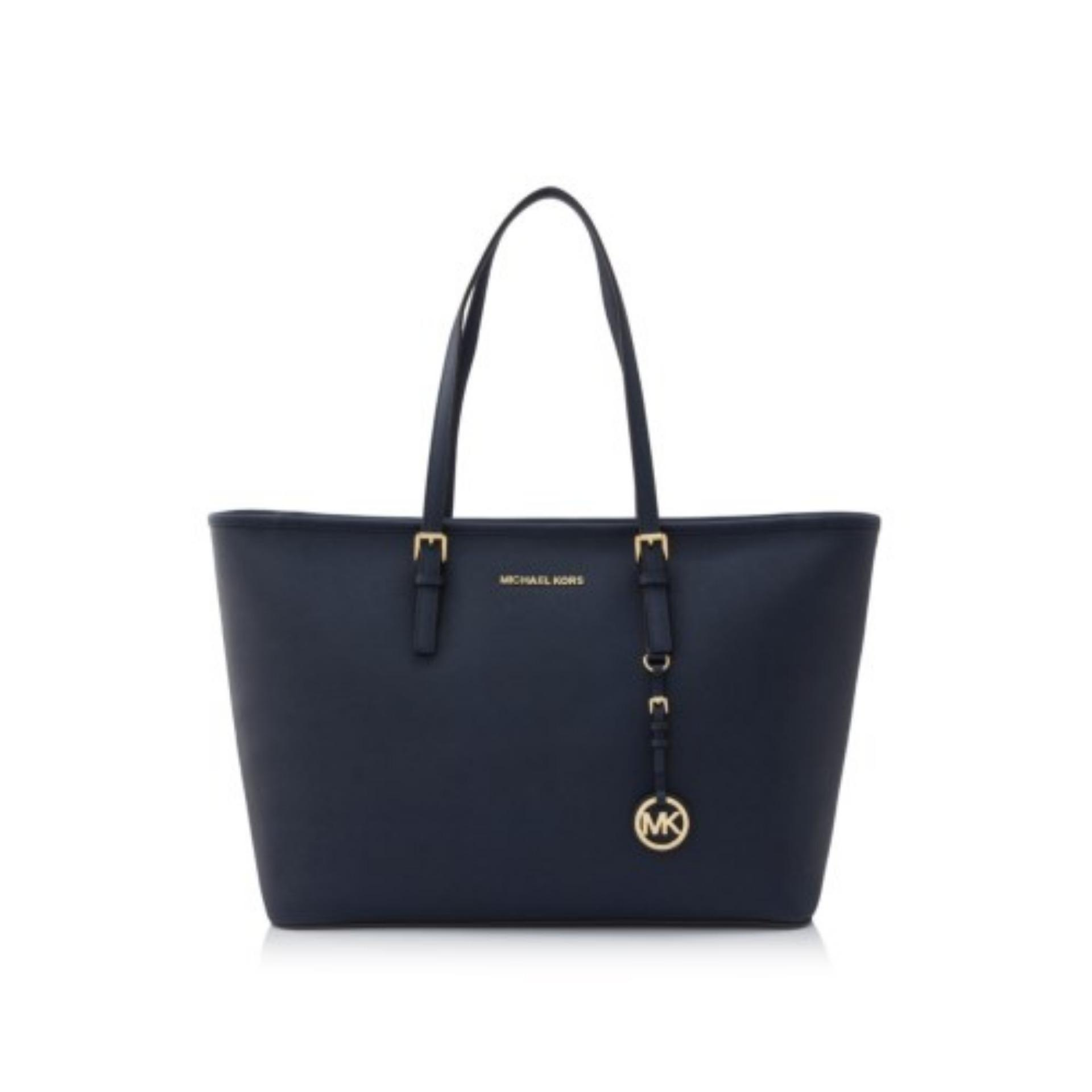 d9443905994d61 Singapore. Michael Kors Jet Set Travel Gold Tone Medium Top Multifunctional Tote  Bag (Navy) #