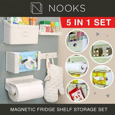 NOOKS - 5-in-1 Magnetic Fridge Shelf Storage Set Organizer