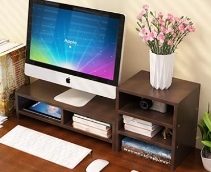 PC Monitor & Desktop Organiser with Extended Shelf (Dark Walnut)