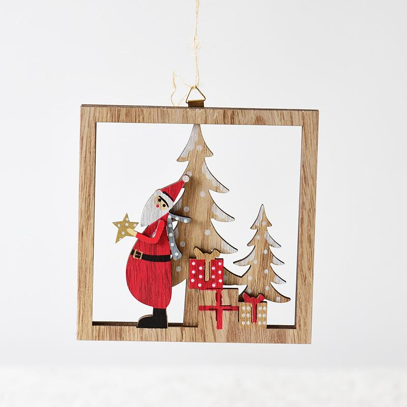 Happy. Northern Europe Wood Hollow out Framework Santa Claus Christmas Tree Gift Desktop Ornaments Christmas Decoration