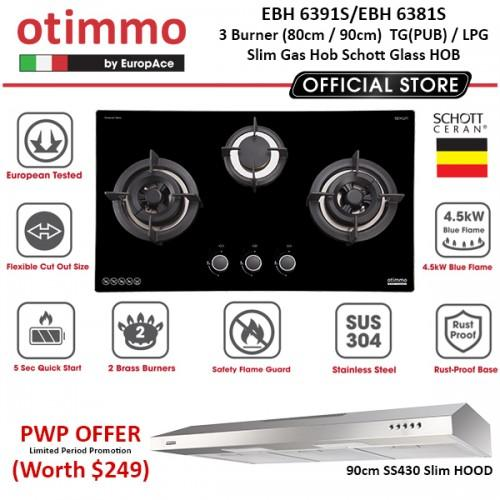 Cheapest Ebh 6381S 80Cm 6381S 90Cm Otimmo By Europace 3 Burner Gas Hob Schott Glass