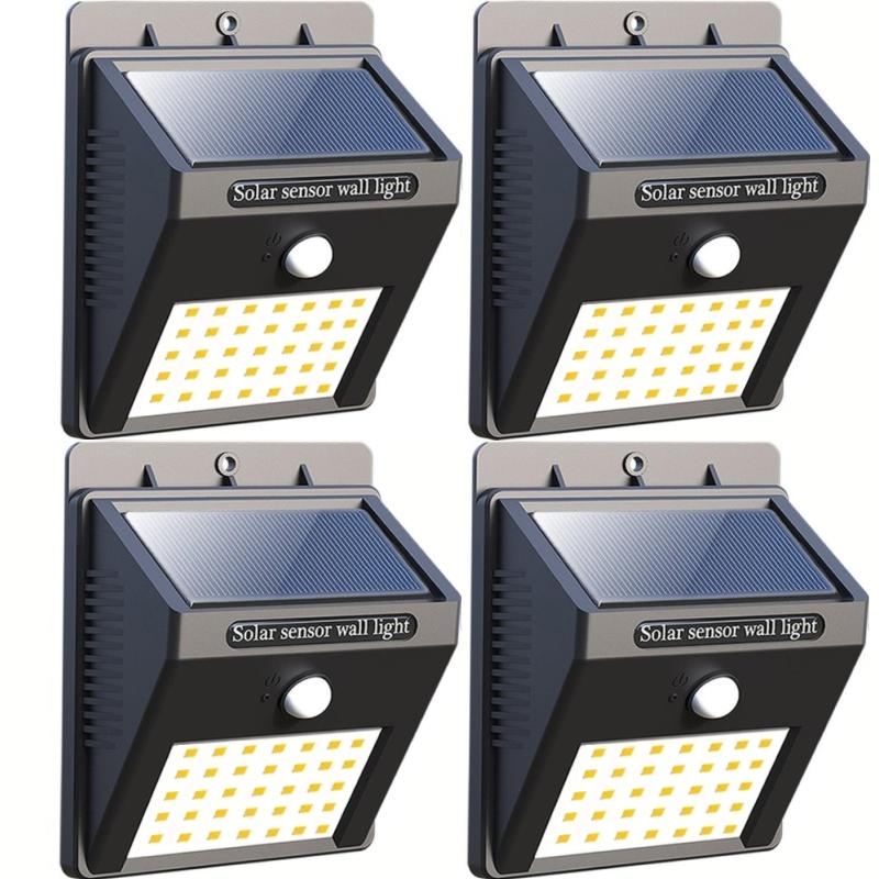 【35 LED】Solar Lights Outdoor, Wireless Waterproof Solar Lights For Garden Patio Deck Yard Home Walkway, Outside Wall With Light Sensor Auto On/Off 【4 pack】