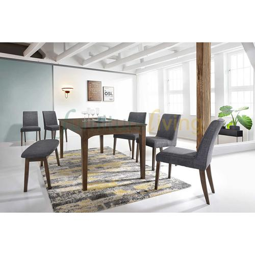 Furniture Living 1+3 Wooden Dining Set (Walnut)