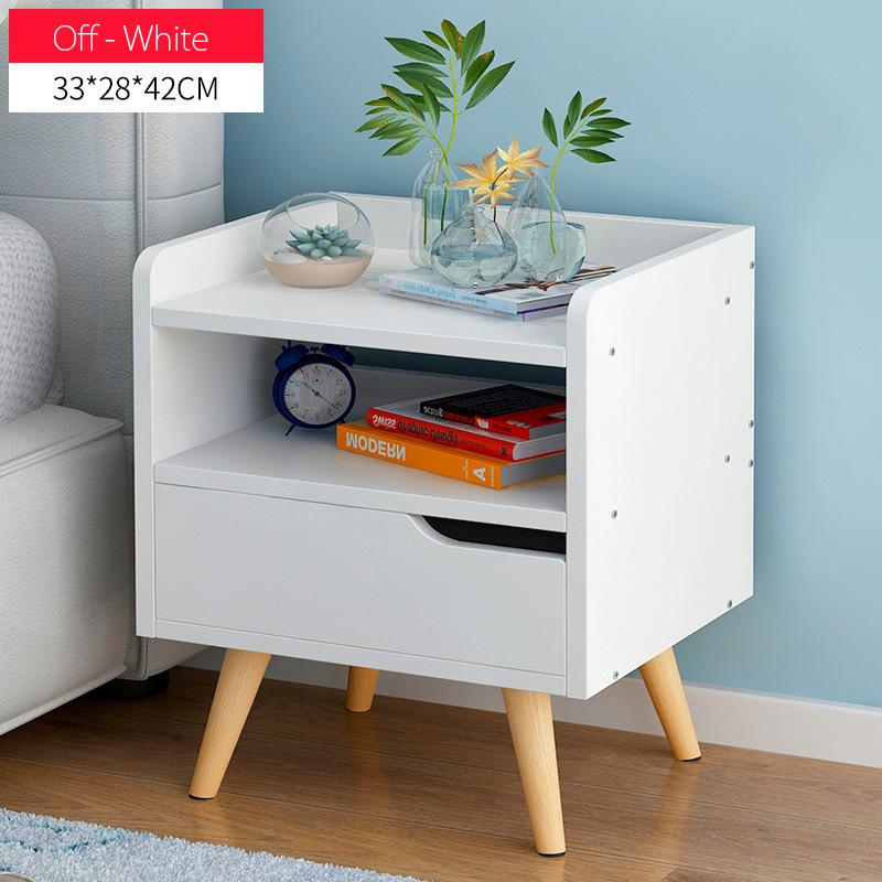 Minimalist  Wooden Bedside Table With Single Drawer(Off-White)