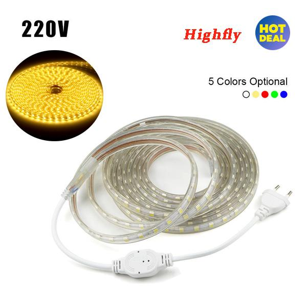 Waterproof SMD 5050 LED Strip 220V 60leds/m Flexible Tape Rope Light 5 Meters (Warm White) - intl