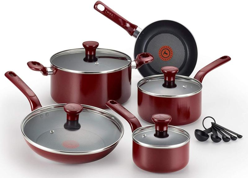 T-fal Pots and Pans Excite Nonstick Thermo-Spot Dishwasher Safe Oven Safe PFOA Free Cookware Set, 14-Piece, Red [Clearance - Last Set] Singapore