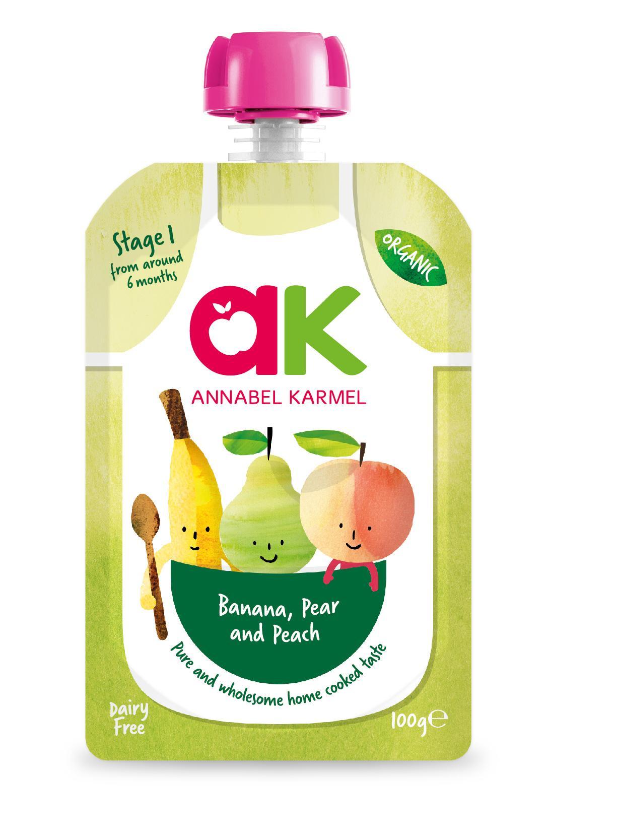 [bundle Deal] Annabel Karmel Stage 1 Organic Banana, Pear & Peach (6 Packs) By Posh Baby Shop.