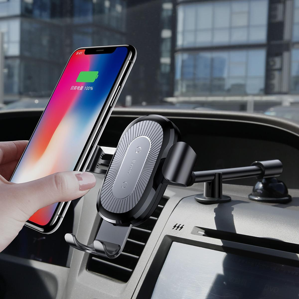 Cheap Baseus Heukji Series Gravity Qi Wireless Charger Car Mount Holder For Iphone X Samsung S8 S9 Online