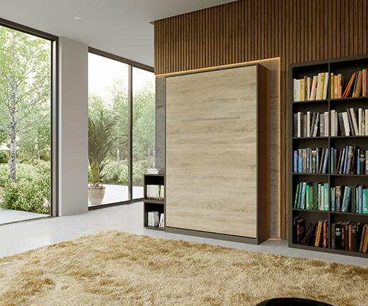 Murphy Wall Bed/ Super Single 120x200cm/ Vertical/ Sonoma Oak front/ Curve leg