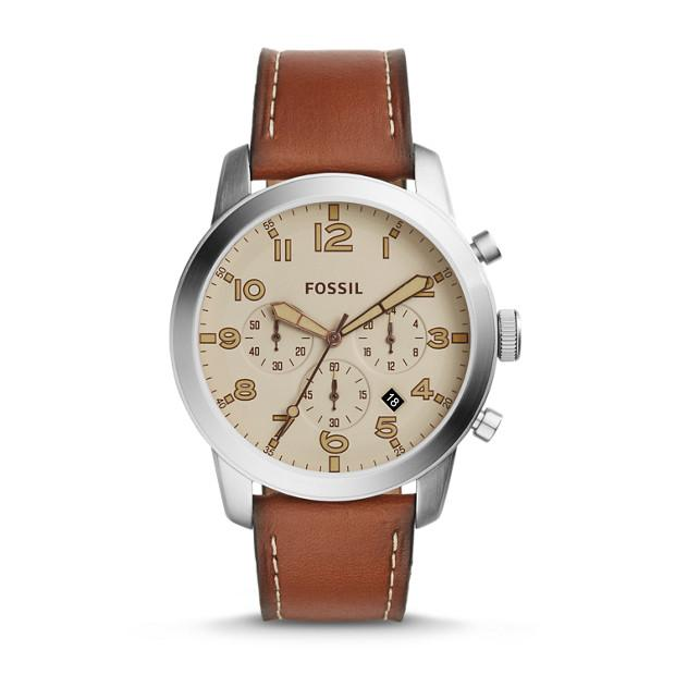 Fossil Pilot 54 Chronograph Beige 44mm Dial Brown Leather Strap Men's Watch FS5144
