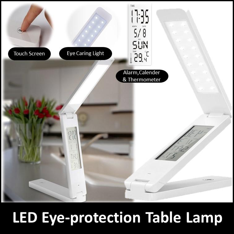 Dimmable Protect Eyesight Foldable Reading Led Light Table Lamp Touch Control Calendar Alarm Clock usb charging Led Lamp Singapore