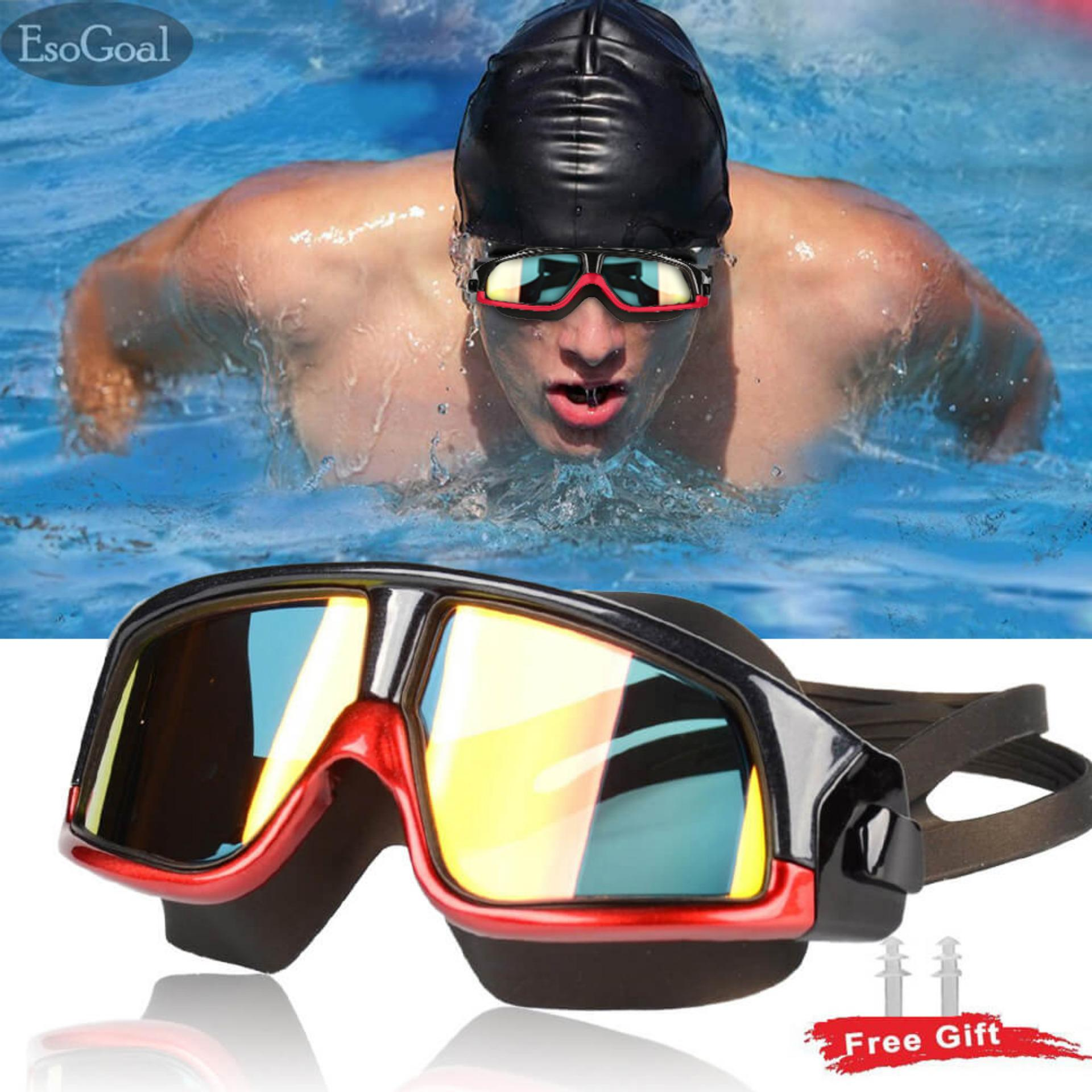 Swimming Goggles,Flat Light HD Anti-Fog Big Box Swimming Goggles,Adult Men and Women Waterproof Swimming Equipment 2 Pieces Boating & Watersports