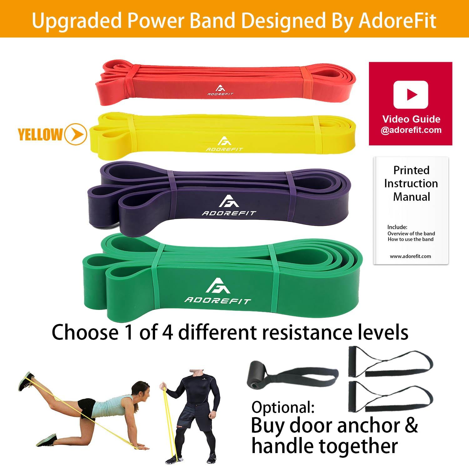 Adorefit Resistance Exercise Loop Band Optional Door Anchor Handle 100 Nature Latex Assist Power Bands For Pull Up Fitness Home Gym Crossfit Power Lifting Pilates Stretch Yoga Strength Training Workout With Instruction Manual And Video Guide Compare Prices