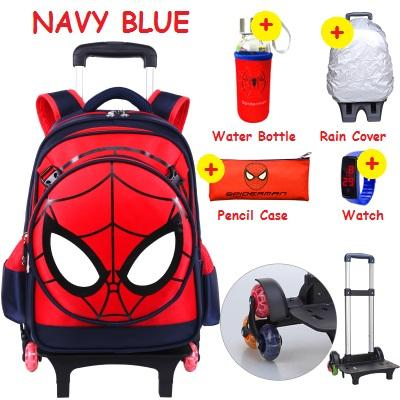 6cec33083661 Kids Trolley School Bag Cartoon Marvel Spiderman Captain America Stair  Climbing Wheel