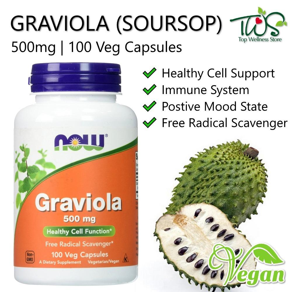 The Cheapest Now Foods Graviola Soursop 500Mg 100 Veg Capsules Online
