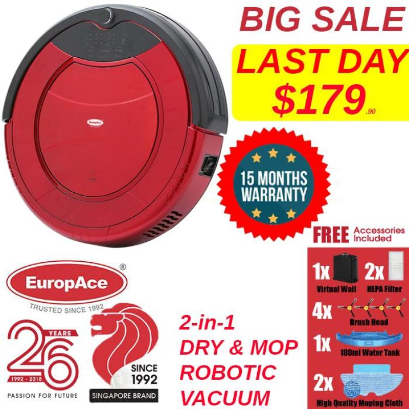 EuropAce 2-IN-1 Robotic Vacuum Cleaner (Mop and Dry) ERV 3031T Auto Cleaning / Auto Daily Scheduled Cleaning  - 15 months Warranty Singapore