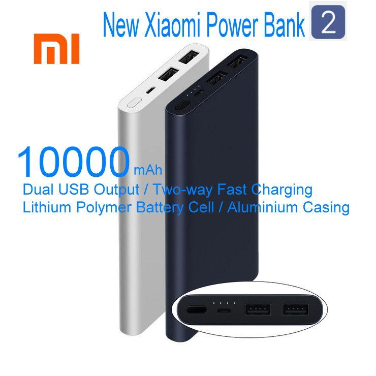 Latest New Xiaomi Mi Power Bank 2 10000mAh Upgraded with Dual USB Output Powerbanks Supports Two