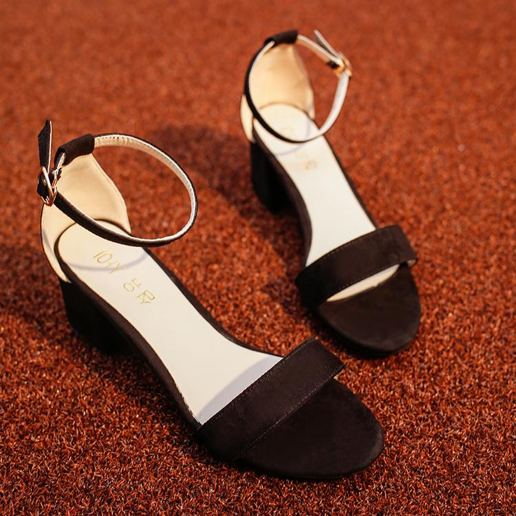 Womens Simple Black Peep Toe Middle Heel Sandals With Single Strap (black) By Taobao Collection.
