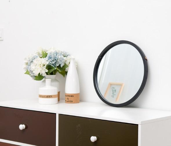 Round Wall Mirror with Belt (Black)