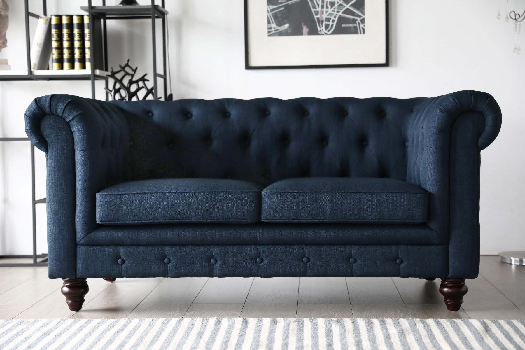 Hugo Chesterfield Sofa - Presidential Blue Fabric