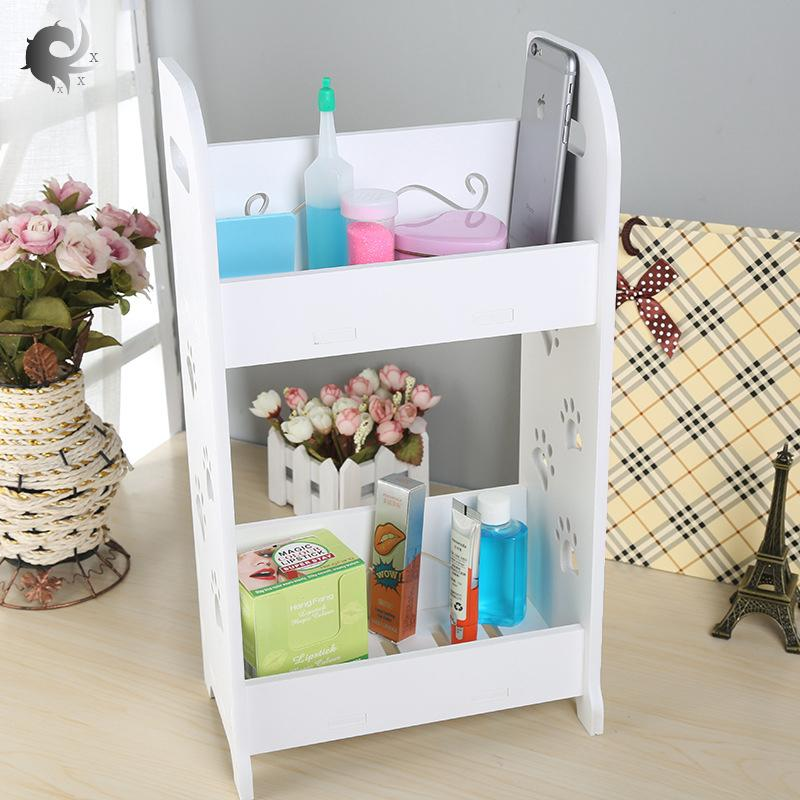 Desk organizer, bathroom, toilet, dresser storage box, cosmetic storage rack, high quality wood plastic board material (43.5*14*25cm)