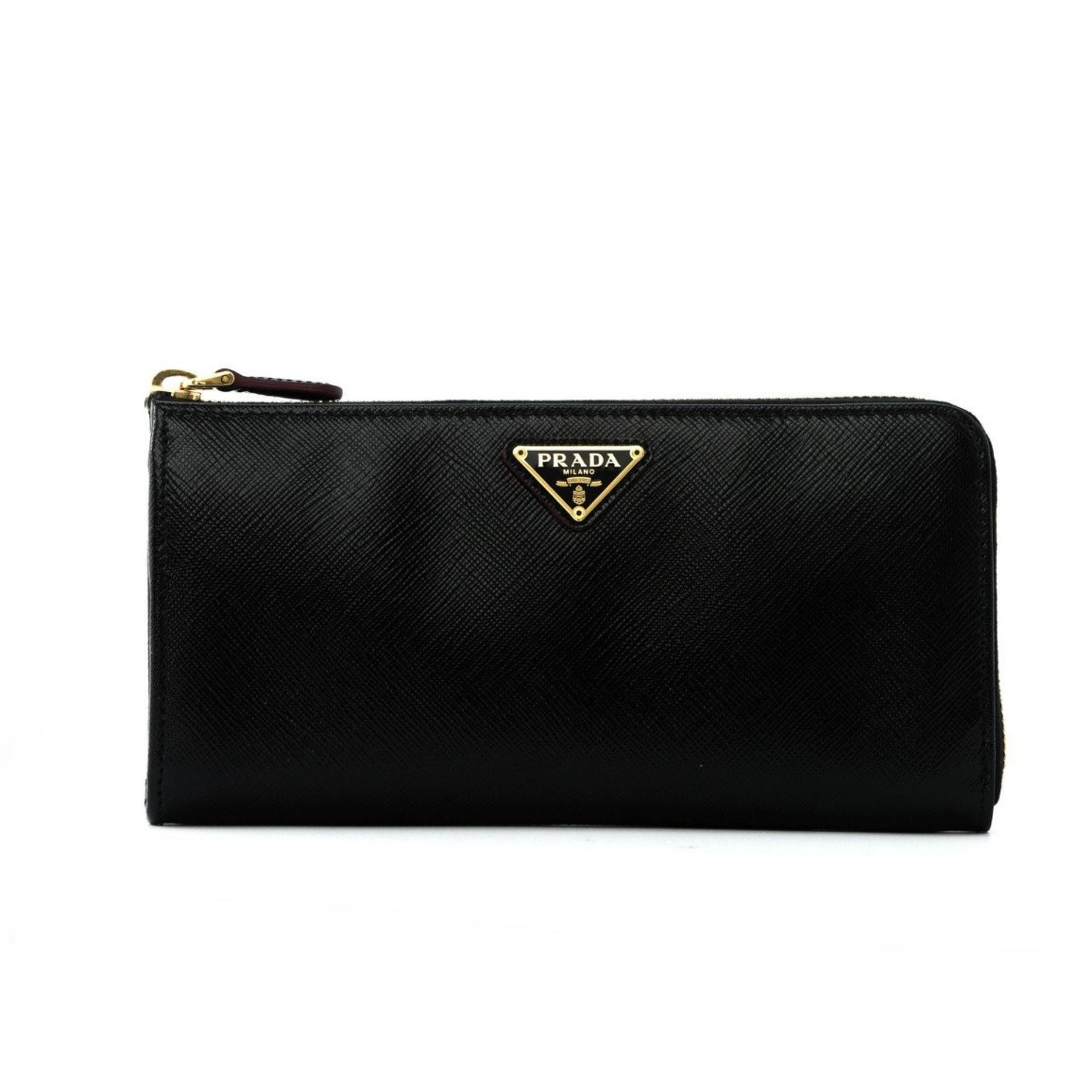 8af0ba3f08d2b8 Prada Saffiano Vernice Half Zip Around Wallet (Nero) # 1ML1832AO6F0DKX