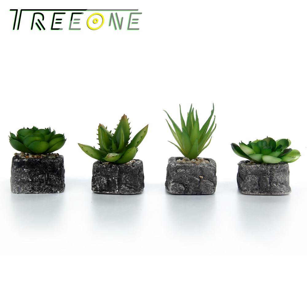 Set Of 4 Green Artificial Faux Mini Succulent Plants Pebble Sand Potted Plants Stone Planter Pot Review