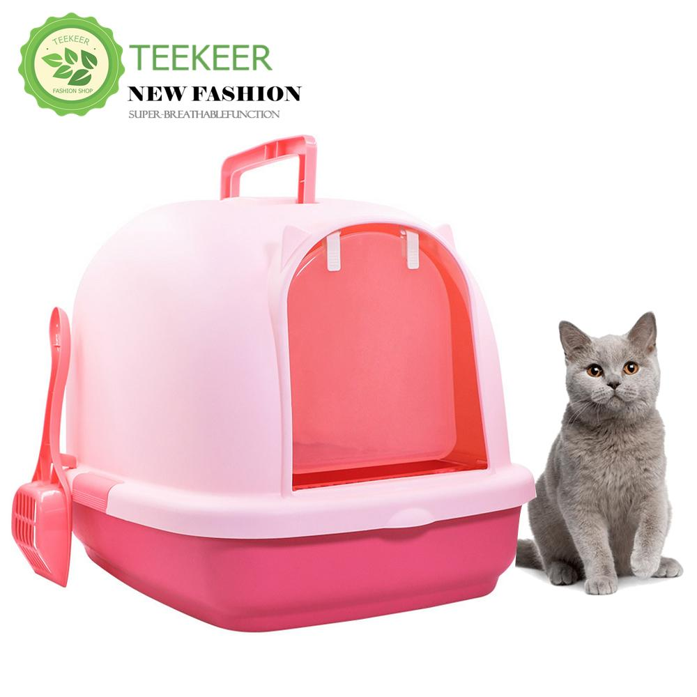 Teekeer Large Cat Litter Box Hooded Cat Litter Pan Fully Enclosed Large Cat Toilet Cat Supplies By Teekeer.