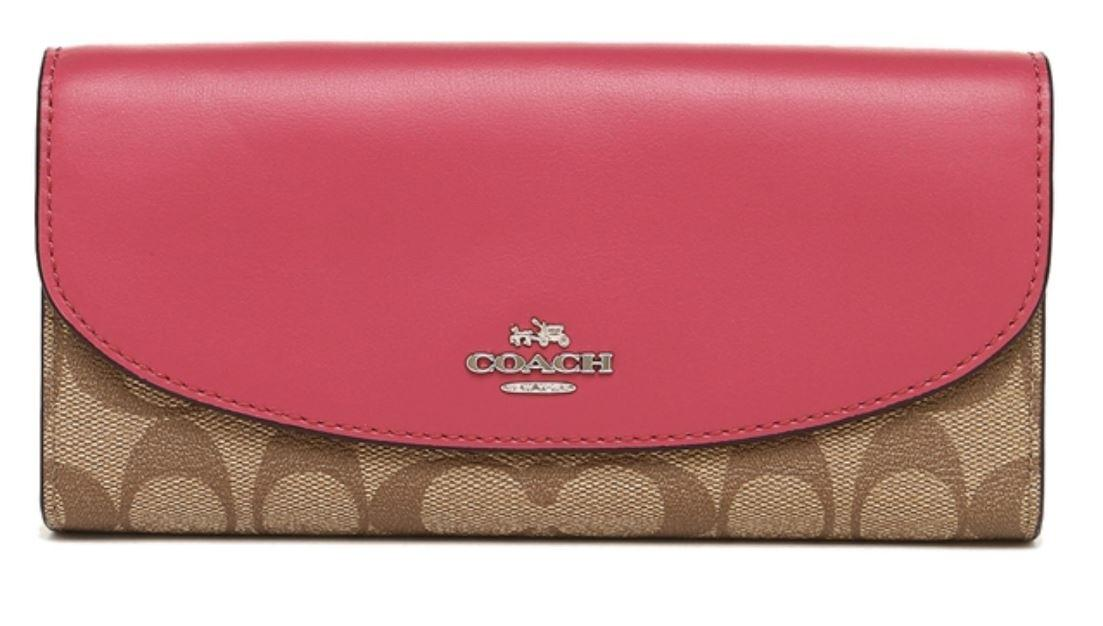 Coach F54022 Slim Envelope Wallet In Signature Canvas [BROWN/DUSTY ROSE/SILVER]
