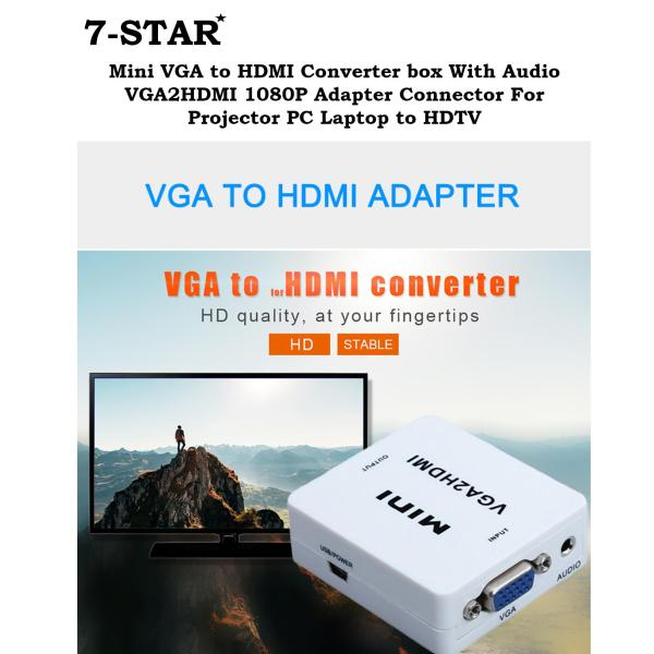 Mini VGA to HDMI Converter box With Audio VGA2HDMI 1080P Adapter Connector For Projector PC Laptop to HDTV