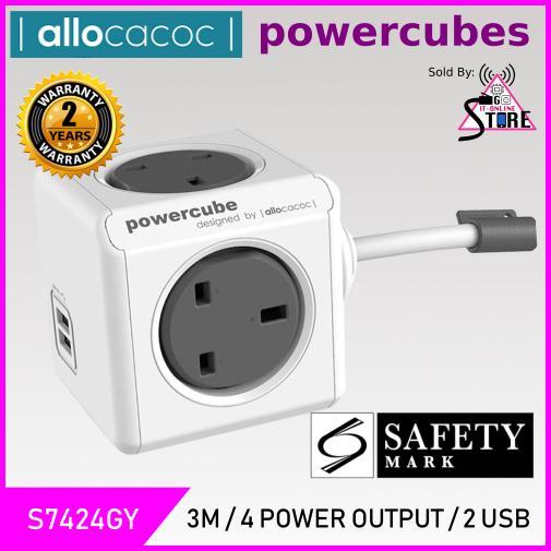 Allocacoc PowerCube 3m Cable 4 Output 2 USB  w/ Surge Protect UK Plug (GREY)