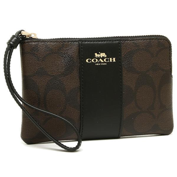 d1ea615965 Coach Corner Zip Wristlet In Signature Coated Canvas With Leather Stripe  with Gift Box