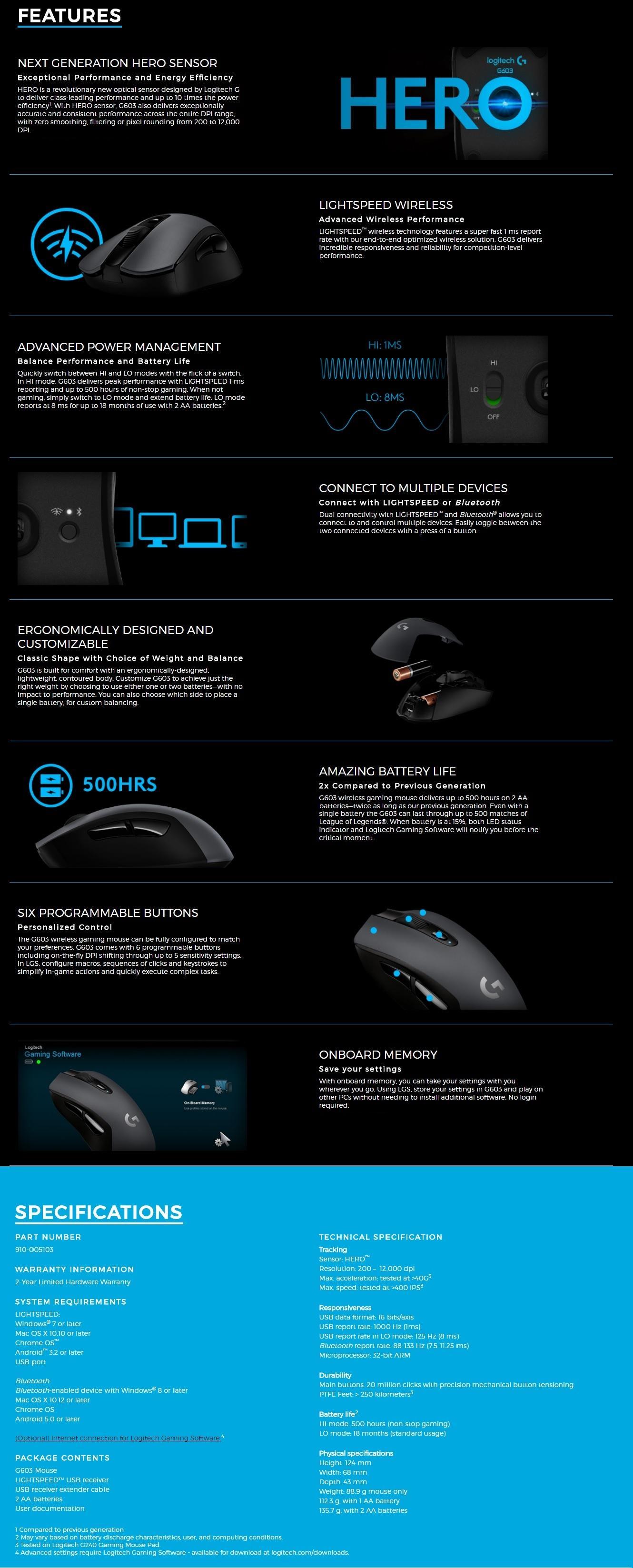 LOGITECH G603 LIGHTSPEED Wireless Gaming Mouse *GSS PROMO*