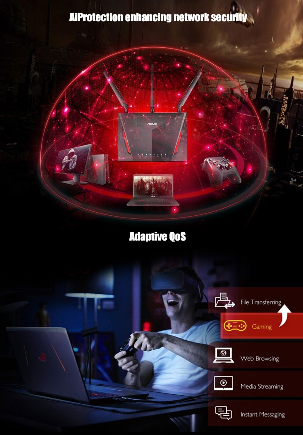 ASUS RT-AC86U - AC2900 Dual Band Gigabit WiFi Gaming Router with MU-MIMO,  AiMesh for mesh wifi system, AiProtection network security by Trend Micro,