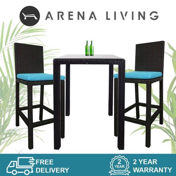 Arena Living Midas 2 Chair Bar Set Blue Cushion