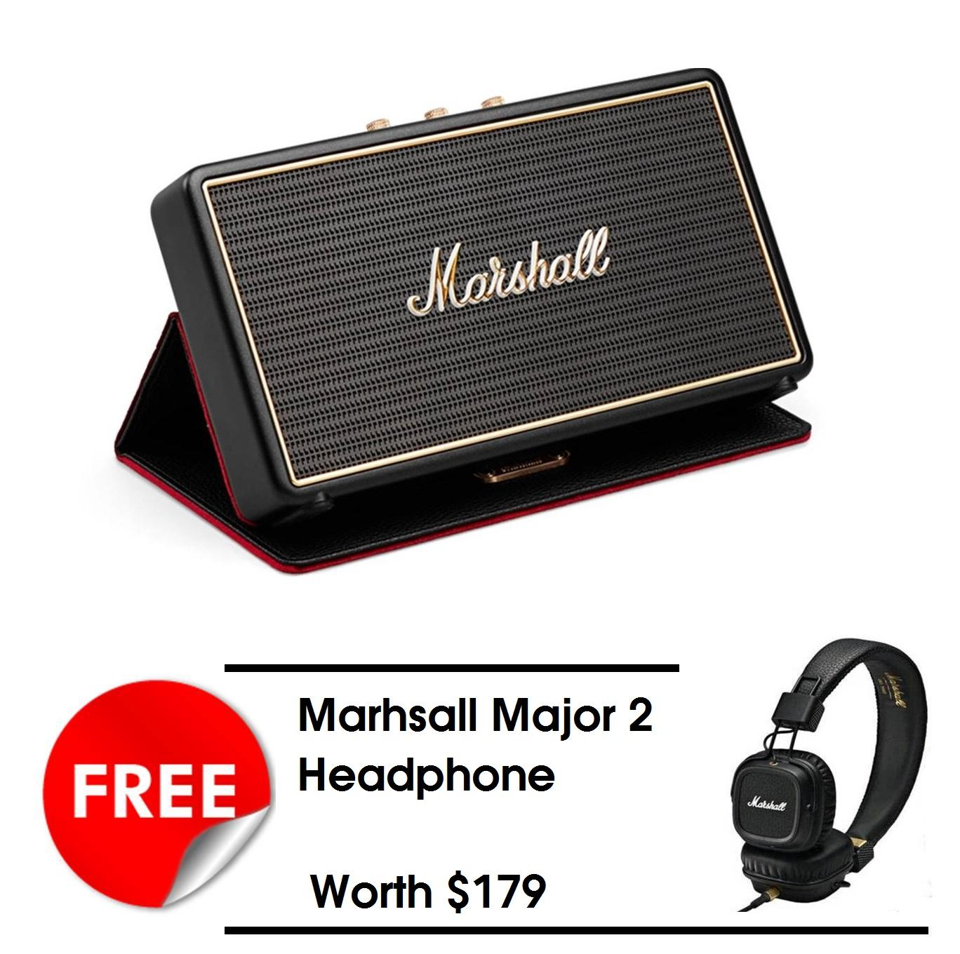 Cheapest Marshall Portable Bluetooth Speaker Stockwell With Flipcover Black Free Marshall Major 2 Headphone