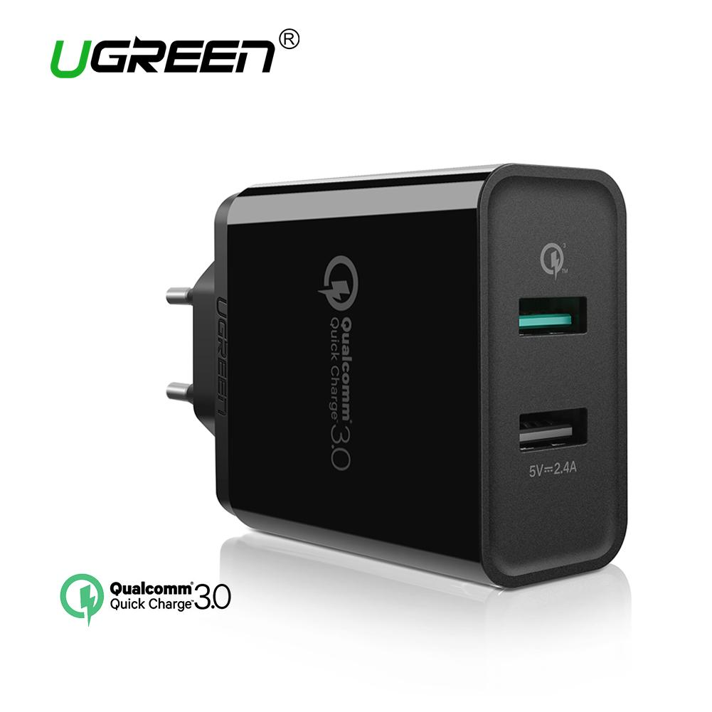 Lowest Price Ugreen Dual Usb Wall Charger Fast Mobile Phone Wired Charger With Quick Charge 3 Ports For Smartphones Black Eu Plug Black Intl Intl