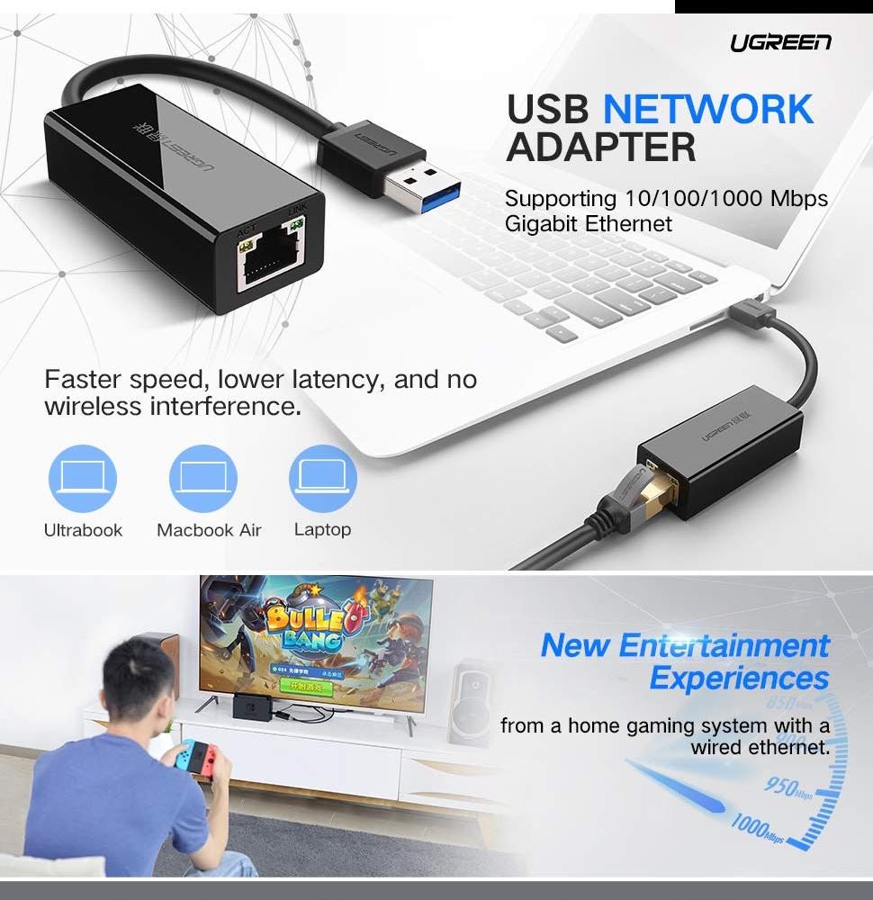 UUGREEN USB Ethernet Adapter USB 3 0 2 0 Network Card to RJ45 Lan for  Windows 10 Xiaomi Mi Box 3 Nintend Switch Ethernet USB (White)-Intl
