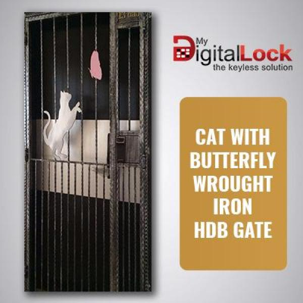 CAT WITH BUTTERFLY WROUGHT IRON HDB GATE (3 x 7)