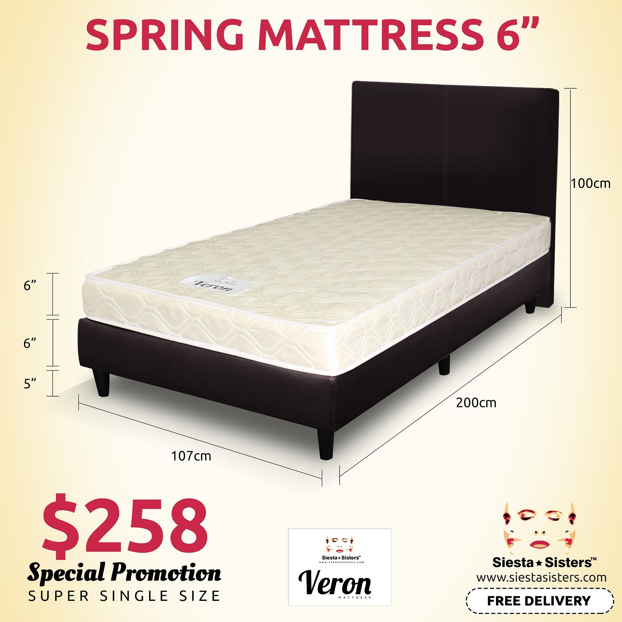 6 Inches Spring Mattress With Divan Bed Frame And Headboard