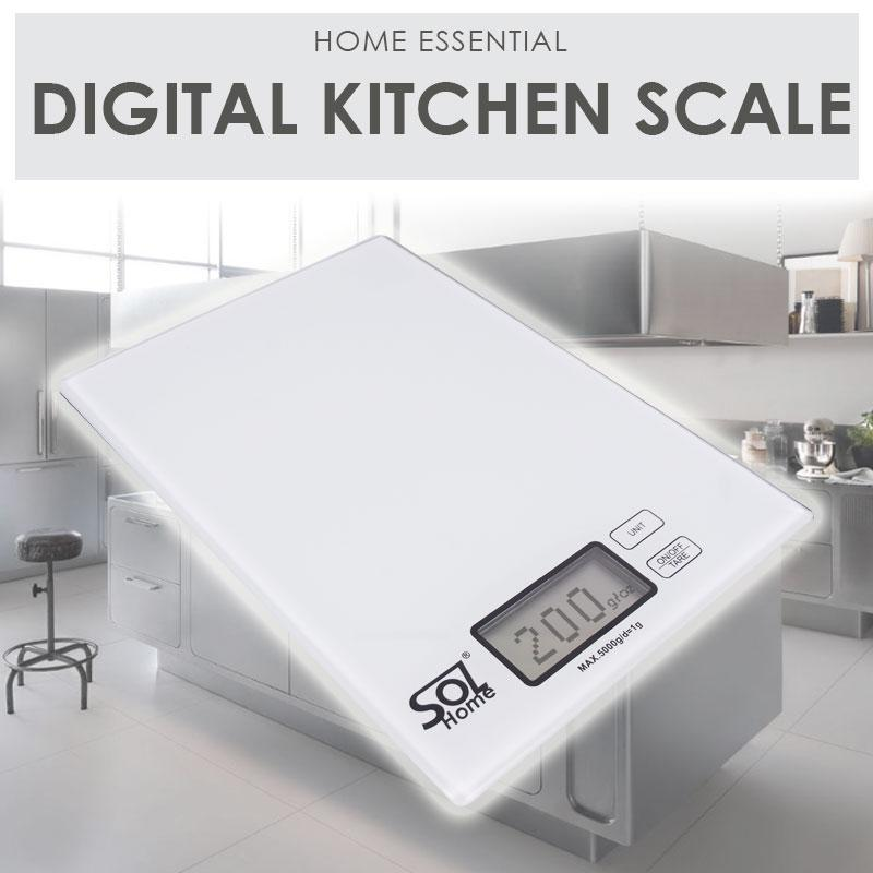 Sol Home ® Digital Kitchen Scale Classic White - Ultra Sensitive And Slim Glass Scale Tempered Glass Kitchen Digital Scale By Shoponlinelah By Sol Home.