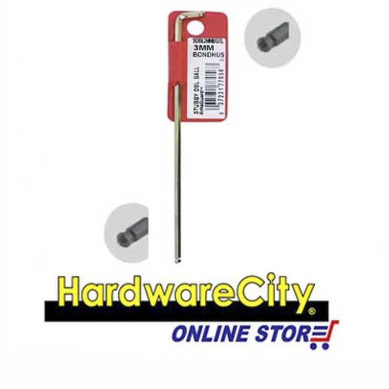 Bondhus Stubby Double Ball End L-Wrenches Hex Keys, Chrome (Metric) - 1.5mm [77050]