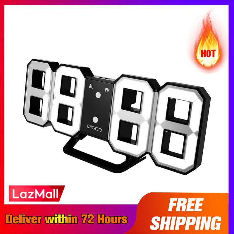 【LazMall + Free Shipping + Super Deal + Limited Offer】Digoo DC-K3 Multi-Function Large 3D LED Digital Wall Clock Alarm Clock With Snooze Function 12/24 Hour Display